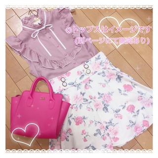 ティティアンドコー(titty&co)のお花柄白×ピンクフレアスカート【他2色有り・おそろコーデにも❣️】(ミニスカート)