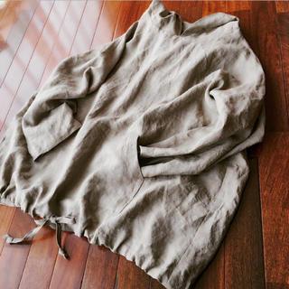 カンガルーポケットのパーカー  長袖  黄海松茶