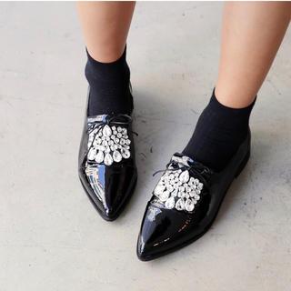 ディーホリック(dholic)のビジューオックスフォードシューズ 24〜24.5相当(ローファー/革靴)