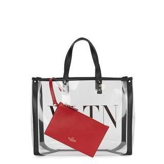VALENTINO - VALENTINO VLTN スモール プレキシ ショッピングバッグ