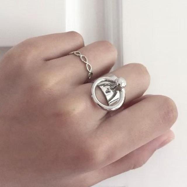 リング付きワイドリング アクセサリー 指輪 シルバー レディースのアクセサリー(リング(指輪))の商品写真
