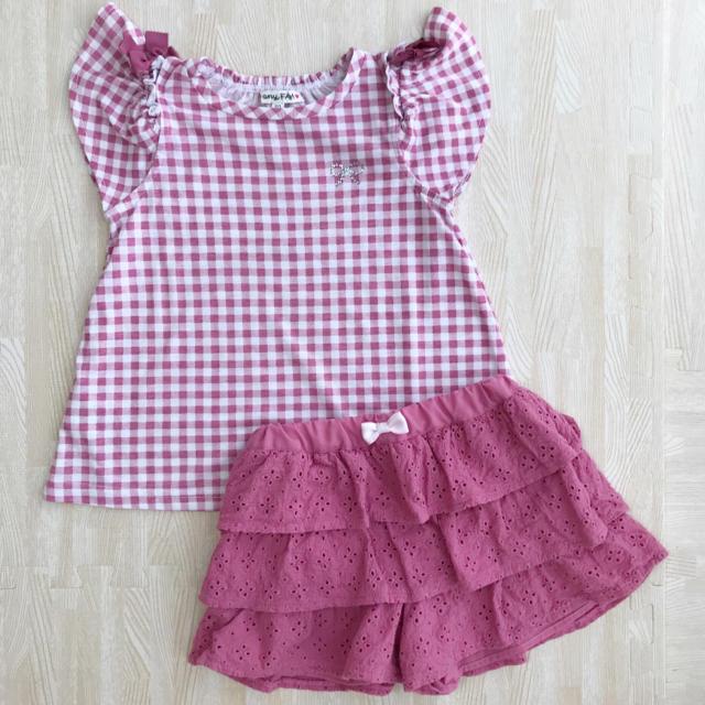 anyFAM(エニィファム)のany FAM 110cm オンオフショルダーTシャツ フリルズボン 上下セット キッズ/ベビー/マタニティのキッズ服 女の子用(90cm~)(その他)の商品写真