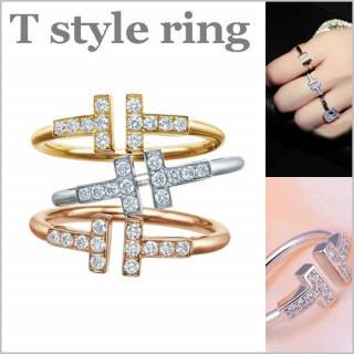 シルバー レディース ジルコニア CZ ダイヤ リング 指輪  T字 シンプル (リング(指輪))