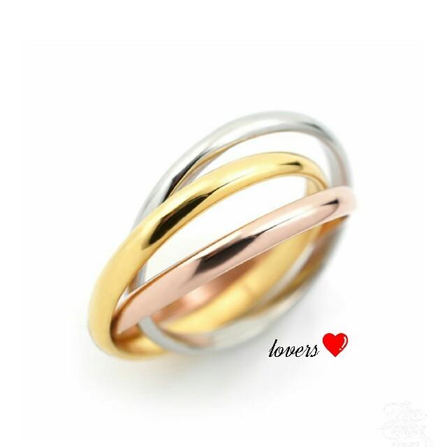 送料無料 17号 サージカルステンレス 三色三連リング 指輪 トリニティリング レディースのアクセサリー(リング(指輪))の商品写真