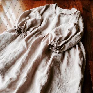 セーラー襟パフ袖ワンピース  くすみ桜