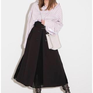 フレイアイディー(FRAY I.D)のFRAY ID プリーツコンビフレアスカート ブラック 黒 サイズ0(ロングスカート)