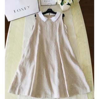 フォクシー(FOXEY)のフォクシー リネン100%  Linen Sucre 白襟 ワンピース(ひざ丈ワンピース)