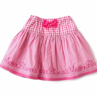 mezzo piano - メゾピアノ ギンガム刺繍スカート 120