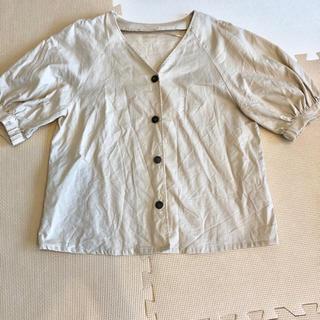 ジーユー(GU)のジーユー 今期 リネンブレンドフロントボタンブラウス(5分袖)ベージュL(シャツ/ブラウス(半袖/袖なし))