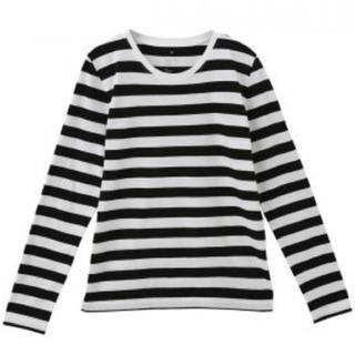 ムジルシリョウヒン(MUJI (無印良品))の無印良品 オーガニックコットンクルーネック長袖Tシャツ 黒×白(Tシャツ(長袖/七分))