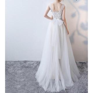 新品 ウエディングドレス  2次会ドレス ロング チュール ドレス トレーン (ウェディングドレス)