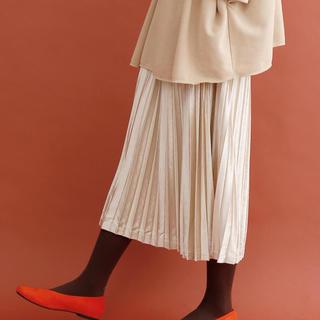 merlot - merlot プリーツベロアスカート ベージュ色