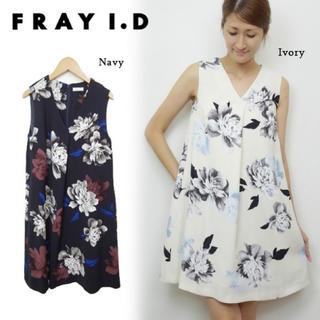 フレイアイディー(FRAY I.D)のfray i.d 花柄 ベージュ ワンピ(ひざ丈ワンピース)