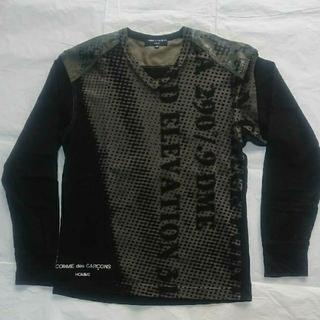 コムデギャルソンオムプリュス(COMME des GARCONS HOMME PLUS)のコムデギャルソン オム Vネック  長袖Tシャツ ブラック【XS】(Tシャツ/カットソー(七分/長袖))