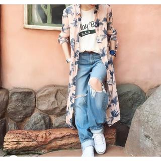moussy - 新品未使用 MOUSSY ロングシャツ ヤシの木柄 マウジー ピンク マキシ丈
