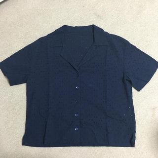 ジーユー(GU)のGU オープンカラーシャツ 花柄 ネイビー L(シャツ/ブラウス(半袖/袖なし))
