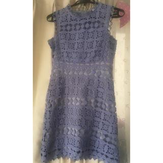 フレイアイディー(FRAY I.D)のインポートレースドレス水色結婚式ワンピース(ミニワンピース)