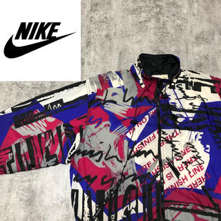 NIKE - 【超激レア】ナイキNIKE☆銀タグ刺繍ロゴ入り総柄ナイロンジャケット 90s