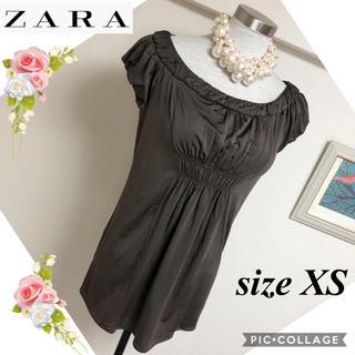 ザラ(ZARA)のZARAザラのブラウン色のチュニック風トップス(サイズXS)(カットソー(半袖/袖なし))