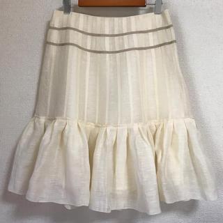 ティアラ(tiara)のTiara ティアラ リネン フリル フレアスカート アイボリー 大きいサイズ(ひざ丈スカート)