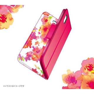 エレコム(ELECOM)のiPhone XR 手帳型ケース フラワーデザイン ディープピンク スマホケース(iPhoneケース)