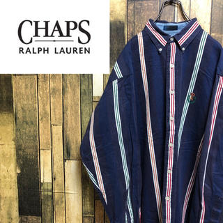 Ralph Lauren - 【激レア】チャップスラルフローレン☆刺繍ロゴ入りマルチストライプシャツ 90s