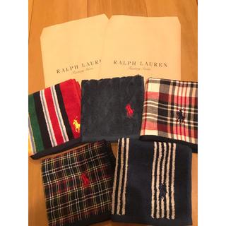 Ralph Lauren - 新品●袋付 ラルフローレン のタオルハンカチ 五枚