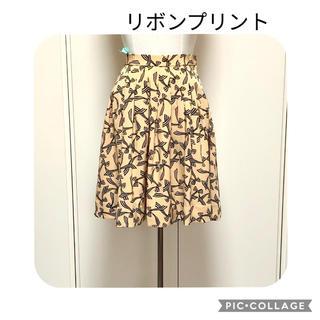 ベージュプリントスカート(ミニスカート)