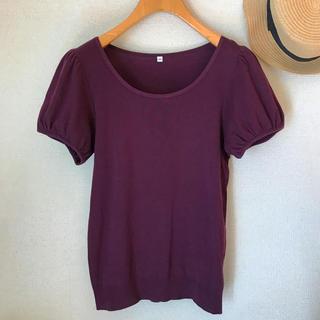 MUJI (無印良品) - MUJI 汗じみしにくいパフスリーブTシャツ パープル M ¥1,550 美品