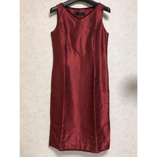 ヨンドシー(4℃)のワンピース◆ドレス レッド(ミディアムドレス)