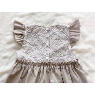 ハンドメイド ギャザー ワンピース ドレス ベビー 刺繍 ナチュラル