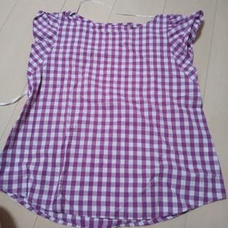 ジーユー(GU)のGU 半袖 ギンガムチェック 紫(シャツ/ブラウス(半袖/袖なし))