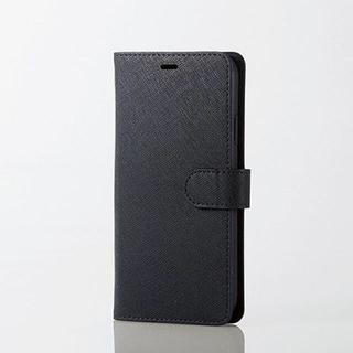 エレコム(ELECOM)のiPhoneXR 手帳型ケース ブラック サフィアーノ調 ソフトレザー スマホ(iPhoneケース)