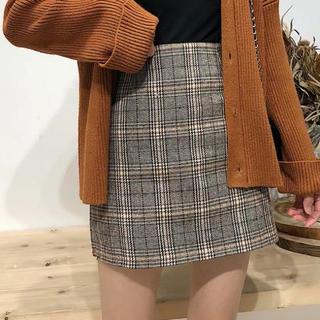 dholic - チェック柄スカート グレンチェック カレッジ風ショートスカート ハイウエスト