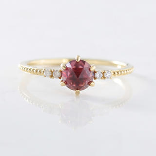 K10 一粒 天然石 ダイヤモンド リング  ロードライトガーネット(リング(指輪))