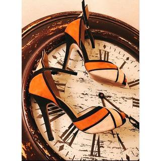 ザラ(ZARA)のZARA ザラベーシック ストラップ スウェード調 ハイヒール オレンジ系 36(サンダル)