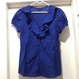 ギャップ(GAP)のGap ギャップ シャツ 青 ブルー 半袖 トップス チェック (シャツ/ブラウス(半袖/袖なし))