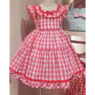 Shirley Temple - シャーリーテンプル ギンガムチェック サンドレス 120 ピンク