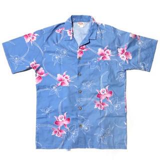 アロハシャツ ブルー ピンク 半袖シャツ 開襟シャツ 総柄 90s 花柄