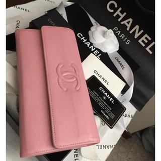 CHANEL - ギャラ付✨CHANEL長財布cocoマーク✨ゴールド金具✨フラップ✨ベビーピンク