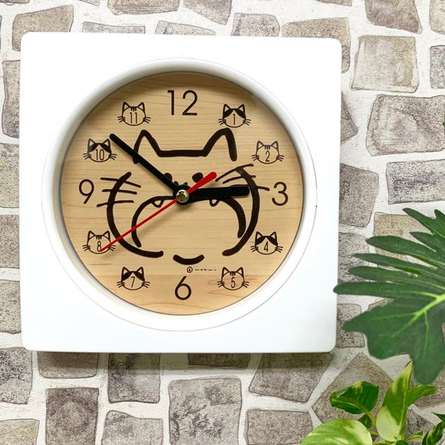【名入れ・送料無料】ホワイト Wall clock (猫) 時計 壁掛け時計 インテリア/住まい/日用品のインテリア小物(掛時計/柱時計)の商品写真