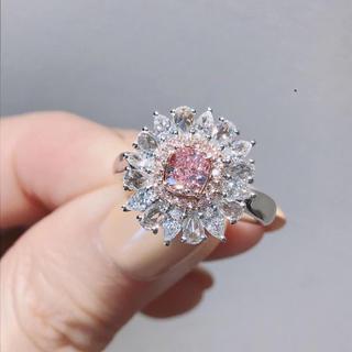 Gia♡0.51カラットピンクダイヤモンド豪華指輪(リング(指輪))