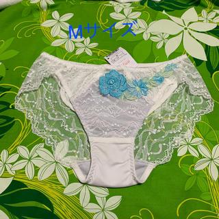 AMPHI - Mサイズ・ワコール・amphi・ホワイト×グレー・清々しい水色の薔薇