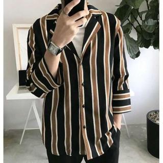 男女兼用‼韓国 ストリート系 ストライプシャツ ユニセックス(シャツ)