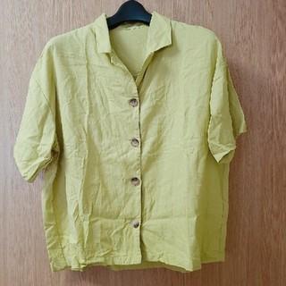 ジーユー(GU)のGU リネンブレンドオープンカラーシャツ(半袖) (シャツ/ブラウス(半袖/袖なし))