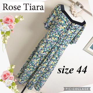 Rose Tiara - ローズティアラのミモレ丈、黒×花柄ワンピース(サイズ44)