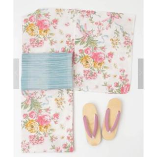 メゾンドフルール(Maison de FLEUR)のラスト☆新品レア♡《ライトピンク》パリブーケ柄浴衣②♡メゾンドフルール(浴衣)