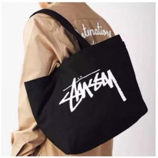 STUSSY - 【新品】ステューシー  ロゴ入りビッグトートバッグ  黒