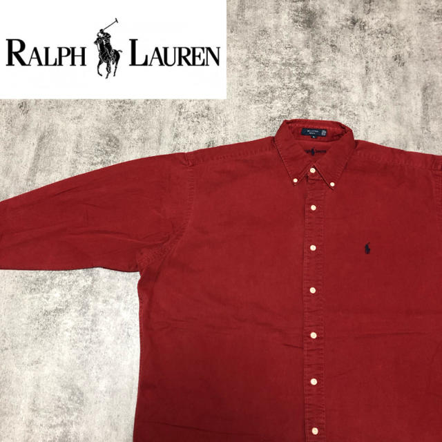 Ralph Lauren(ラルフローレン)の【激レア】ラルフローレン☆USA製ワンポイント刺繍ロゴ・内刺繍チノシャツ 90s メンズのトップス(シャツ)の商品写真