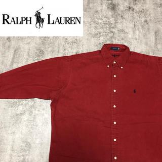 Ralph Lauren - 【激レア】ラルフローレン☆USA製ワンポイント刺繍ロゴ・内刺繍チノシャツ 90s